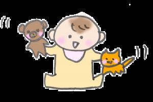 ぬいぐるみを使って遊んでいる赤ちゃんのイラスト