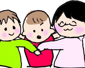 親子3人で横になるイラスト
