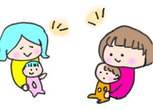 ママ友とおしゃべりするイラスト