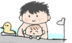 パパとお風呂に入っている赤ちゃんのイラスト
