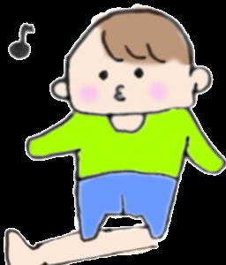 ママの足を踏む赤ちゃんのイラスト