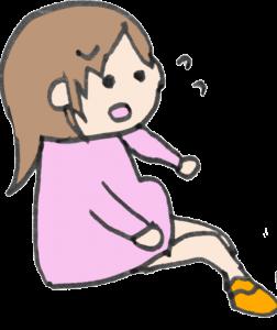 靴下が自分ではけなくなった妊婦のイラスト