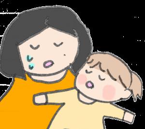 赤ちゃんにのられてうなっているママのイラスト