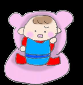 イスにいやいや座る赤ちゃんのイラスト