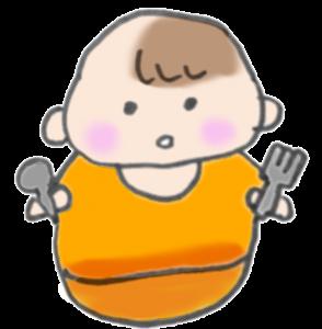 スプーンとフォークをもって戦闘態勢バッチシの赤ちゃんのイラスト