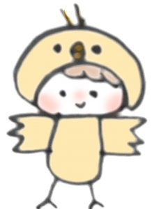 鳥のコスプレをした赤ちゃんのイラスト