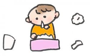 ティッシュを食べる赤ちゃんのイラスト