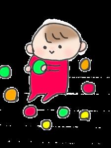 ボールをギュッとつかんでいる赤ちゃんのイラスト