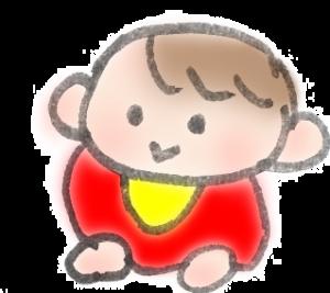 ゴロンしている赤ちゃんのイラスト