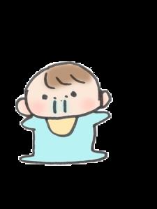 鼻がじゅるじゅるたれている赤ちゃんのイラスト