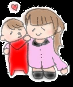 ママにチューしている赤ちゃんのイラスト