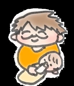 赤ちゃん(新生児)にミルクをあげているパパのイラスト