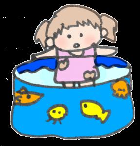 プールで遊ぶ女の子のイラスト