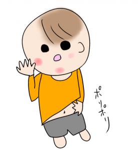 アトピーでかゆがっている赤ちゃんのイラスト