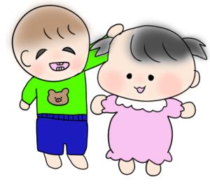 友だちをよしよししている幼児のイラスト