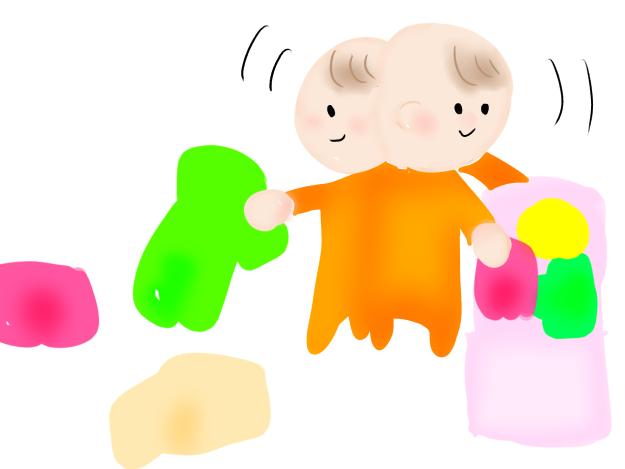 服をポイする赤ちゃんのイラスト こどものらくがき
