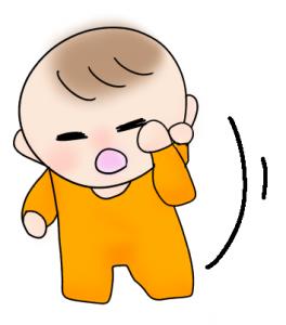 眠くて目をこすっている赤ちゃんのイラスト