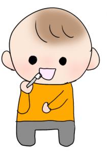 歯磨きしている幼児のイラスト