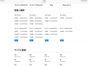 2018年ipadの価格表